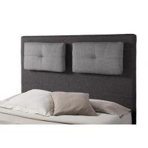 Tete de lit avec coussin Mirko 2 Gris anthracite/gris perle - Basika