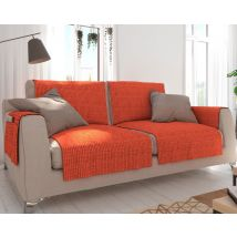 Lot de 2 accoudoir en velours gaufré Becquet ORANGE orange terracotta 70x55