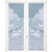 Vitrage droit peint motif cigognes finition passe-tringle - la paire - Rideaulargeur 44 X Hauteur 160cm - Blanc - Blancheporte