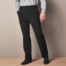 Pantalon taille élastiquée à pinces - polyester - Noir - T46 - Polyester - Blancheporte