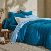 Linge de lit uni - coton bio - Drap-housse1 Pers : 90x190cm - Bleu - Colombine