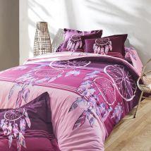 Linge de lit Plumes en coton imprimé attrape-rêves - Violet - Coton - Colombine