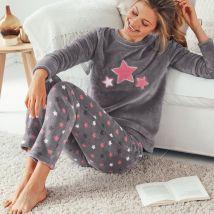 Pyjama polaire, toucher peluche - Gris/rose - T50 - Polyester - Blancheporte