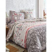 Linge de lit Victoire en coton imprimé fleurs - Beige - Coton - Colombine