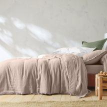 Linge de lit uni lin lavé - Drap-housse2 Pers : 180x200cm - Beige - Colombine