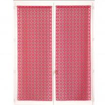 Vitrage droit dentelle jacquard finition passe-tringle - la paire - Rose - Polyester - Blancheporte