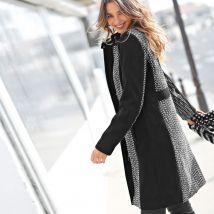 Manteau tweed bicolore fermeture zippée - T48 - Écru/noir - Blancheporte