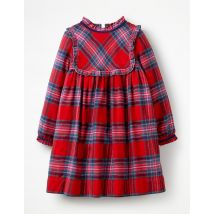 Robe festive à carreaux tissés RED Fille Boden, Red