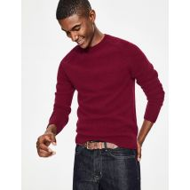 Pull col rond Aldgate brossé RED Homme Boden, Ruby
