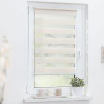 Duo-Rollo Streifen - 80 cm x 150 cm blickdicht 80cm x 150cm natur x Fensterwelten