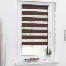 Duo-Rollo Streifen - 90 cm x 150 cm blickdicht 90cm x 150cm dunkelbraun x Fensterwelten