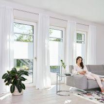 Plissee 65 cm x 130 cm, Haftfix ohne Bohren 65cm x 130cm weiß x Fensterwelten