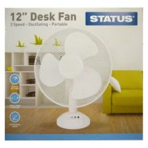 Status 12 Inch Oscillating Desk Fan White - 3 Speed