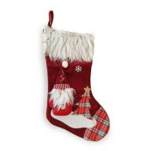Santa Christmas Stocking Red & Faux Fur 20 Inch
