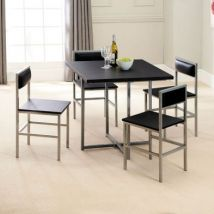 Compact 4 Seater Dining Set Black & Silver With 4 Chairs