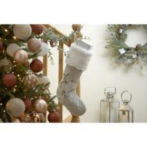 Reindeer & Snowflake Christmas Stocking Grey 51cm