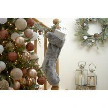 Faux Fur & Pompom Christmas Stocking Grey 56cm