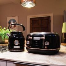 Bentley Kettle & Toaster Set Black & Rose Gold 1.7L