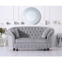 Mark Harris Casey Chesterfield Grey Plush Fabric 2 Seater Sofa