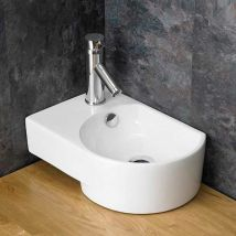 Countertop Bathroom Basin with Overflow in White Ceramic Left Hand 400mm x 270mm Aversa