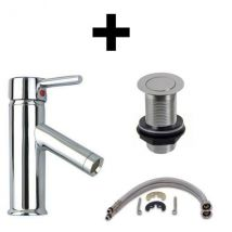 Single Lever Bathroom Mixer Tap with Unslotted Pop Up Waste and Fittings Bundle in Stainless Chrome 180mm Tall