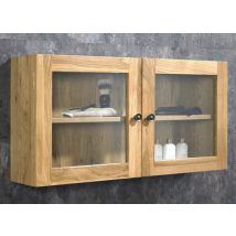 Large Wall Hung Cabinet in Solid Oak and Glass 750mm x 380mm Bathroom Storage Cabinet