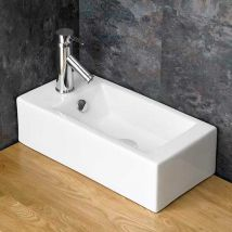 Narrow Countertop Bathroom Basin in White Ceramic Left Hand 500mm x 255mm Ensuite or Cloakroom Sink Lucca