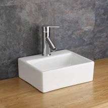 Rectangular Countertop Bathroom Basin Small in White Ceramic 330mm x 290mm Cloakroom or Ensuite Sink Salerno
