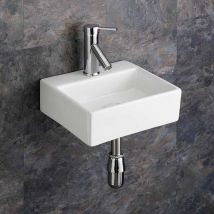 Small Wall Mounted Bathroom Basin White Ceramic 330mm x 290mm Cloakroom Rectangular Sink Salerno