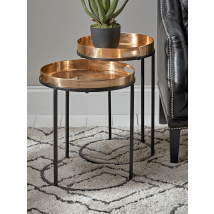 NEW Two Brass Topped Nesting Tables