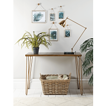 Brass Hairpin Leg Console Table