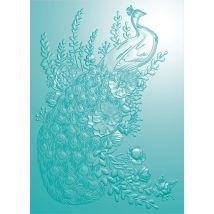 Peacock Collection 5 x 7 3D Embossing Folder - Regal Peacock