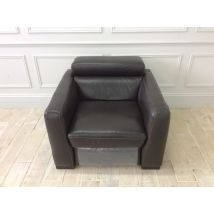 Francesca Armchair with Electric Recliner in 10ZC Brown Leather and Contrast Stitching