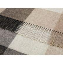 Check Alpaca Wool Throw Natural Grey Check
