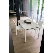AURIGA 140 cm Extendable Table With White Painted Metal Structure…