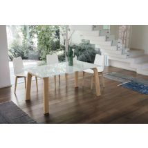 DEIMOS 160 cm Aluminum Extendable Table With Natural Wooden…