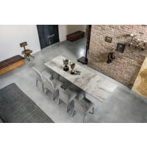 LIBECCIO 180 cm Extendable Dining Table Arabesque Marble-Effect…