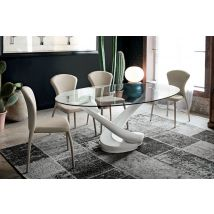 Tango Non Extendable Dining Table White Agglomerate Base…