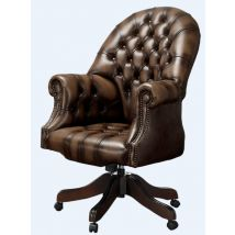 Chesterfield Directors Office Chair Antique Brown Real Leather