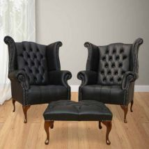 Chesterfield Special Offer High Back Wing Chair + Footstool…