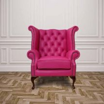 Chesterfield Queen Anne High Back Wing Chair Vele Fuchsia Pink