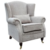 Wing Chair Fireside High Back Armchair Velluto Hessian Mink Fabric