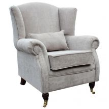Wing Chair Fireside High Back Armchair Velluto Hessian Mink Fabric