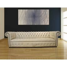 Chesterfield Crystal Diamond 4 Seater Leather Sofa Ivory Leather