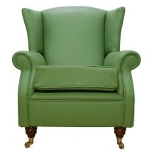 Wing Chair Fireside High Back Leather Armchair Apple Green Leather