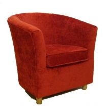 Chenille Fabric Bucket Tub Chair Scarlet Red