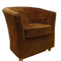 Tub Chair Chenille Fabric Bucket Tub Chair Chestnut Brown