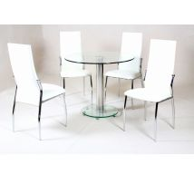 Alonza Dining Table Set With 4 Black Or Cream Dining Chairs