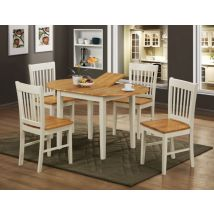 Niklas Solid Rubberwood Natural Oak And White Extending Dining…