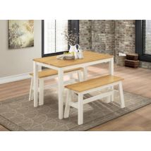 Vivien Natural Oak And White Dining Set With 2 Benches